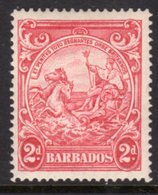BARBADOS - 1938-1947 TWO PENCE CARMINE DEFINITIVE 1944 COLONY SEAL PERF 14 REF A MINT MM * SG 250de - Barbados (...-1966)
