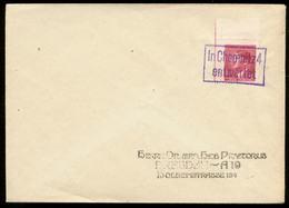 P0400 - DR Böhmen Und Mähren Hitler Eckrand Auf Briefumschlag: Gebraucht Mit Stempel In Chemnitz 4 Entwertet , Sammler - Allemagne