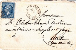 France LSC Losange GC 4244 Villefranche Sur Mer 20/07/... / YT 22 - Marcophilie (Lettres)