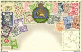 Iran Persia, Stamp Collection, Coat Of Arms (1910s) Postcard - Iran