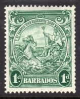 BARBADOS - 1938-1947 ONE PENNY BLUE-GREEN DEFINITIVE 1942 COLONY SEAL PERF 14 REF C MINT MM * SG 249bc - Barbados (...-1966)