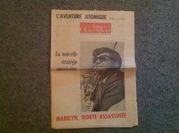 Journal France Observateur 9-08-1962 Marilyn Monroe, Morte Assassinée - Desde 1950