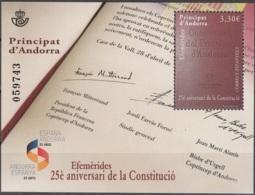 Andorra Español 2018 Bloc Feuillet 25 Ans De Constitution Neuf ** - Neufs