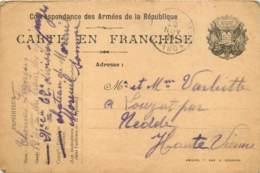 Carte De Franchise Militaire Posté Par Thomas François Au Chateau De Moreuil (Somme) En 1914 - 12e Train Des Equipages - War 1914-18
