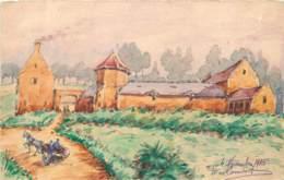 Rare Carte De Franchise Militaire Aquarellée Et Peinte Signée D. Rambert En 1915 Pour Huba Du 7eme Génie à Ravières ? - Guerre 1914-18