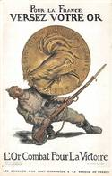 Pièce Or Guerre 1914 Illustrateur Abel Faivre - Monnaies (représentations)