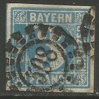 Bavaria - 1850-8 Numeral 3k Plate 3 Used    SG 4 - Bavaria