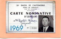 CARTE NOMINATIVE D'EXPOSANT - SALON DE L'AUTOMOBILE PARIS - 1969 - MARQUE JAGUAR - Cartes