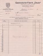 1911: Facture De ## Gasmotoren-Fabrik «DEUTZ» - S.A. Des Moteurs «OTTO-DEUTZ»,  Rue Auguste Orts, 2, BXL ## à ## ... - Cars