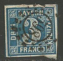 Bavaria - 1850-8 Numeral 3k Plate 5 Used    SG 5 - Bavaria