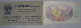 Calendrier De Poche 1980 Bouquet Fleurs ESTEVES Mareyeur Boulogne Sur Mer Halles Aux Poissons - Calendriers