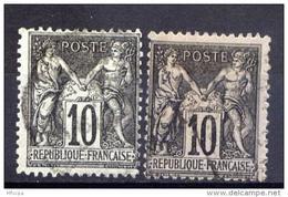 A165 2 Exemp. YT 103 Sage Type III 10c Noir Sur Lilas (o) - 1898-1900 Sage (Type III)