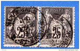 A151  Paire H YT 97 Sage Type II 25c Noir Sur Rose (o)cad - 1898-1900 Sage (Type III)