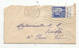Lettre , 1937, POITIERS R.P. ,Vienne, Utilisez La Poste Aérienne, 65 C - Marcophilie (Lettres)