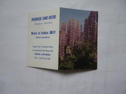 Calendrier De Poche 1980 Fleurs Mauves Pharmacie JOLLY Saint Victor Amiens - Calendriers