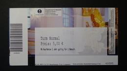 Germany - Turmbesteigung Hauptkirche St. Michaelis (Michel) In Hamburg - Used - Tickets D'entrée