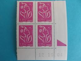 TIMBRE : 3740  LAMOUCHE 1,11€ , COIN DATE Du 12/10/04 , Avec Repére , Type I , XX,en Parfait état - France