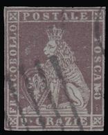 Toscana - Marzocco (Leone Mediceo) Con Corona Sulla Testa - 9 Crazie Bruno Violaceo - 1851/52 FALSO D'EPOCA - Toscana