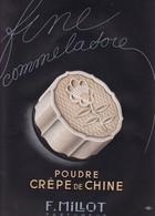 """PUB  """"  POUDRE  CREPE DE  CHINE  """"    F  MiILLOT ,,,,, PARFUMS  PARIS ,,,,IMAGES DE  FRANCE   1941,,,,TBE - Parfums & Beauté"""