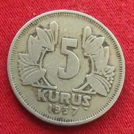 Turkey 5 Kurus 1937 KM# 862  Turquia Turquie - Turquie