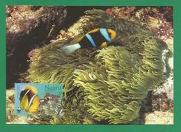 Nauru 2003  Mi.Nr. 554 , Orange-fin Anemone Fish + Leathery Sea Anemone - WWF Official Maximum Card 29.04.03 - Nauru