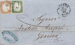 Z43- Lettera Del 20 Febbraio 1863 Da Modena A Genova Con Cent. 10 Bistro + Cent 5 Verde- - Sardaigne