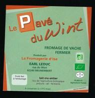 """étiquette Fromage Le Pavé Du Wint """"AB"""" Bio""""la Côte D'Opale"""" Fromagerie  Leduc Brunembert 62 - Kaas"""
