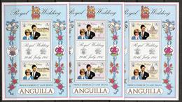 Anguilla 1981 Royal Wedding Diana And Charles, Mi 442-444 In Minisheets, MNH(**) - Anguilla (1968-...)
