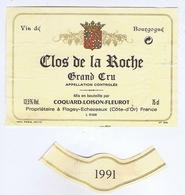 ETIQUETTE De VIN - BOURGOGNE - CLOS DE LA ROCHE 1991 - COQUARD-LOISON-FLEUROT - FLAGEY-ECHEZEAUX ( 21 ) - Bourgogne