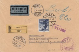 Austria 1933 - Registered Airmail Graz To Pliesovice, CSR - Briefe U. Dokumente