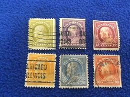 United States Stamp 1912-1915  Set Of 6 Canceled & Hinged - Vereinigte Staaten