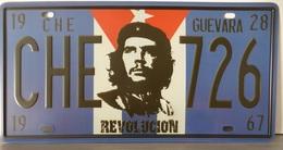 Rare Plaque Tôle CHE GUEVARA 726 CUBA Style EMAIL 15X31 Cms VINTAGE REVOLUCION - Plaques D'immatriculation