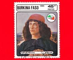 BURKINA FASO - Nuovo Oblit.- 1985 - Mostra Filat. ITALIA '85 -  Ritratto Sconosciuto, Dipinto Di Botticelli - 45 - Burkina Faso (1984-...)