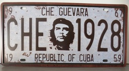 Rare Plaque Tôle CHE GUEVARA 1928 CUBA Style EMAIL 15X31 Cms VINTAGE REVOLUCION Blanche - Plaques D'immatriculation