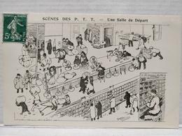 Scènes Des P.T.T.Illustrateur Morer. Une Salle De Départ - Poste & Facteurs