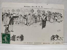 Scènes Des P.T.T.Illustrateur Morer. Un Bureau Moderne - Poste & Facteurs