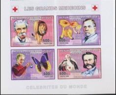 Congo 2006 Nobel Red Cross Croix Rouge  DUNANT Albert SCHWEITZER Louis Pasteur Marie CURIE Lion Papillon Imperf MNH - Nobel Prize Laureates
