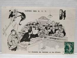 Scènes Des P.T.T.Illustrateur Morer. Le Commis Du Guichet Et Les Clients - Postal Services