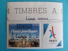 TIMBRE : 5144A , PARIS 2024 , SURCHARGE LIMA , Haut De Feuille , XX,en Parfait état - France