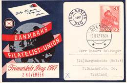 DENMARK - POSTCARD FRIMAERKETS DAG 1947 ODENSE - BARGETHEIDE/GERMANY - 1913-47 (Christian X)