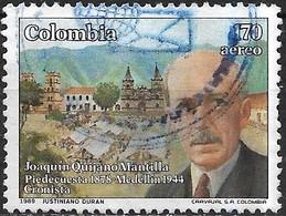 COLOMBIA 1989 Air. 45th Death Anniv Of Joaquin Quijano Mantilla (chronicler) - 170p Mantilla FU - Colombia