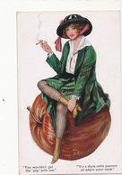 Femme Sexy En Bas Fumant La Cigarette Assise Sur Une Grosse Pomme . Apple . Pépin. - Ilustradores & Fotógrafos