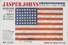 Rare Carte Prépayée Japon - USA - NEW YORK MUSEUM - Peinture DRAPEAU De JASPER JOHNS - FLAG  Japan Painting T Card - 149 - Landschaften