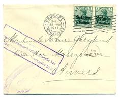 Belgique - Occupation 1914-1918 - OC2 En Paire Sur Lettre De Bruxelles à Anvers 22 Aug 1915 - Guerre 14-18