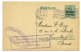 Belgique - Occupation 1914-1918 - Entier 5 Centimes Sur 5 Pf De Bruxelles à Anvers 22 Jul 1915 - Guerre 14-18