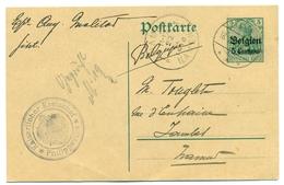 Belgique - Occupation 1914-1918 - Entier 5 Centimes Sur 5 Pf De Givet (France) à Jambes 18  Fev 1915 - Guerre 14-18