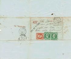 Lettre France Antibes - Grasse 1442 Napoléon III N°11 5c Vert Paire  Et  40c Orange N°16  31/10/1857 - 1853-1860 Napoleon III