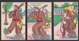 3 CPA.  ARMÉE BELGE.  1931.      1- 2 -3 JOURS DE MARCHE. !!! - Humour