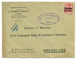 Belgique - Occupation 1914-1918 - OC3 Sur Lettre De Walcourt à Bruxelles  Censurée à Givet (France) - Guerre 14-18