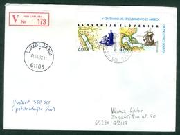 Slovenia 1992 FDC Europa CEPT Discovery Of America Christopher Columbus Letter Cover Michel 20 21 - Slovenia